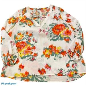 Joie floral peasant sleeve blouse with smocking S